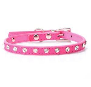 Hundehalsband-Strass-Leder-Halsband-Luxus-Rosa-Pink-Chihuahua-Yorkie-Schick-S
