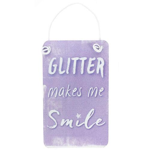 Mini Metal UNICORN RAINBOW Hanging Sign Rose Bleu Violet Glitter petits Signes