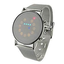 Rot+ Gelb+ Grün+ Blau LED Light Digital Armbanduhr Edelstahl Modisch Wrist Watch