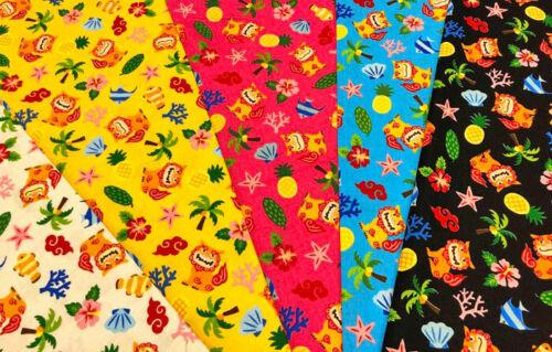 """L4/"""" 108cm #047 10cm Japanese Fabric Shisa Okinawa Black W42/"""""""