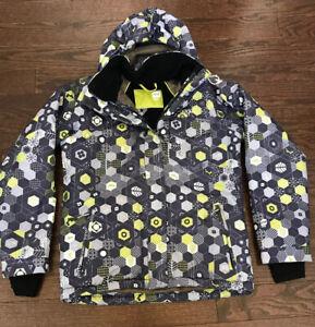 ORAGE-Youth-Boys-XL-12-14-Ski-Coat-Jacket-Snowboard-Hooded-Gray-Green-Geo-EUC