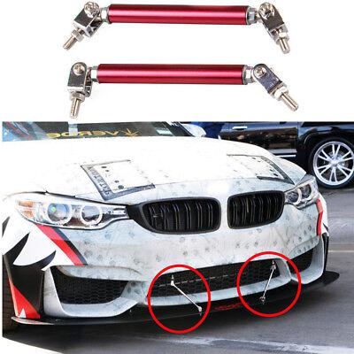 Black Universal Car Front Bumper Lip Splitter Rod Strut Tie Bar Support Kit JDM