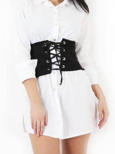 Womens Cheap Lace Up Eyelet Cotton Denim Corset Belt High Waist Wide Style Belt
