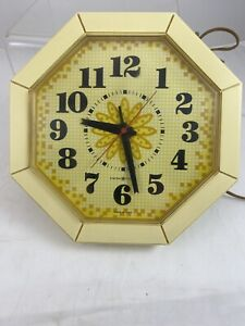 Ge General Electric Vintage Corded Yellow Kitchen Clock 2193 Retro Mid Century Ebay