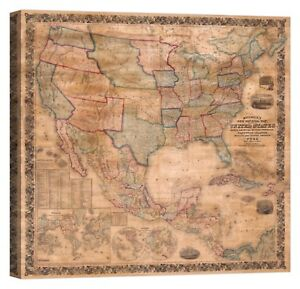 Map-of-the-United-States-Stampa-su-tela-Canvas-effetto-dipinto