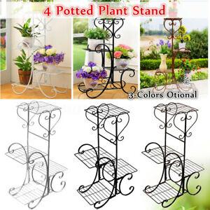 4-Tier-Metal-Shelves-Flower-Pot-Plant-Stand-Display-Indoor-Outdoor-Garden