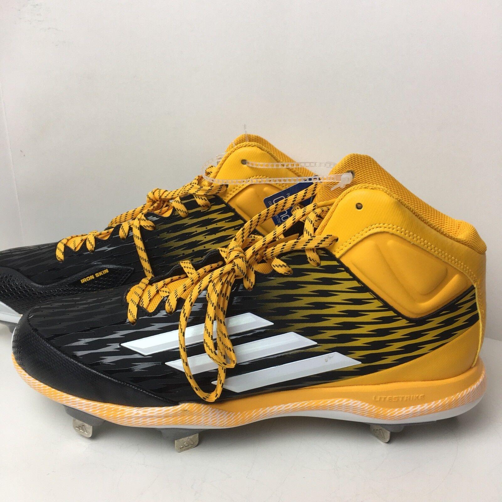 New Adidas Mens Yellow Power Ally 3  Baseball Lite Strike Metal Cleats Size 11.5