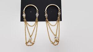 Catherine-Malandrino-Gold-Tone-Crystal-Chain-Earrings