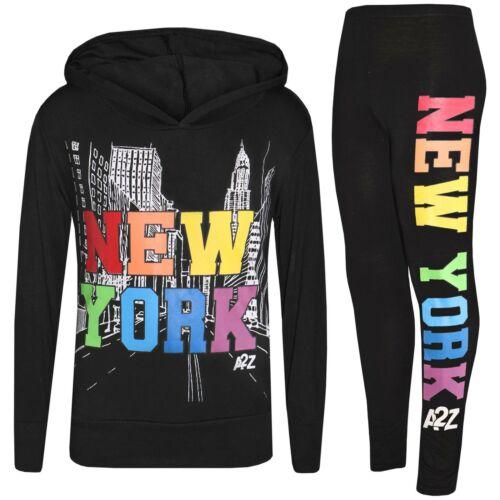 Enfants Filles Crop /& legging New York Imprimé Haut à Capuche Bas Tenue Vêtements ensembles