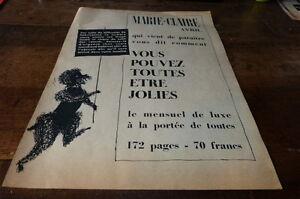 MARIE-CLAIRE-AVRIL-Publicite-de-presse-Press-advert-1955