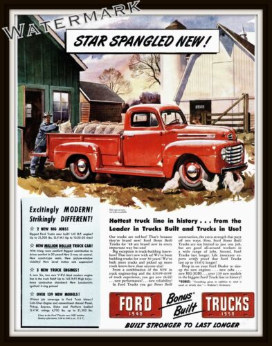 Wall Art of a 1948 Ford Pickup Truck  Advertisement   11x14