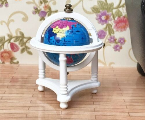 Dollhouse Miniature 1:12 Toy Study Room Rolling Map Globe Stand Accessory Decor