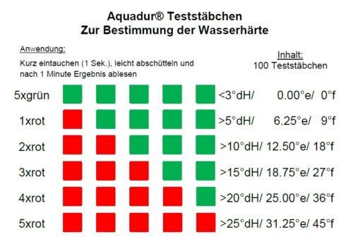 100 x AquaDur teststäbchen chaux eau dureté bandelette pour mesurer