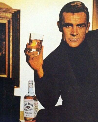 FINE MADNESS 007 BOND SEAN CONNERY VINTAGE JIM BEAM BOURBON WHISKEY AD 1966