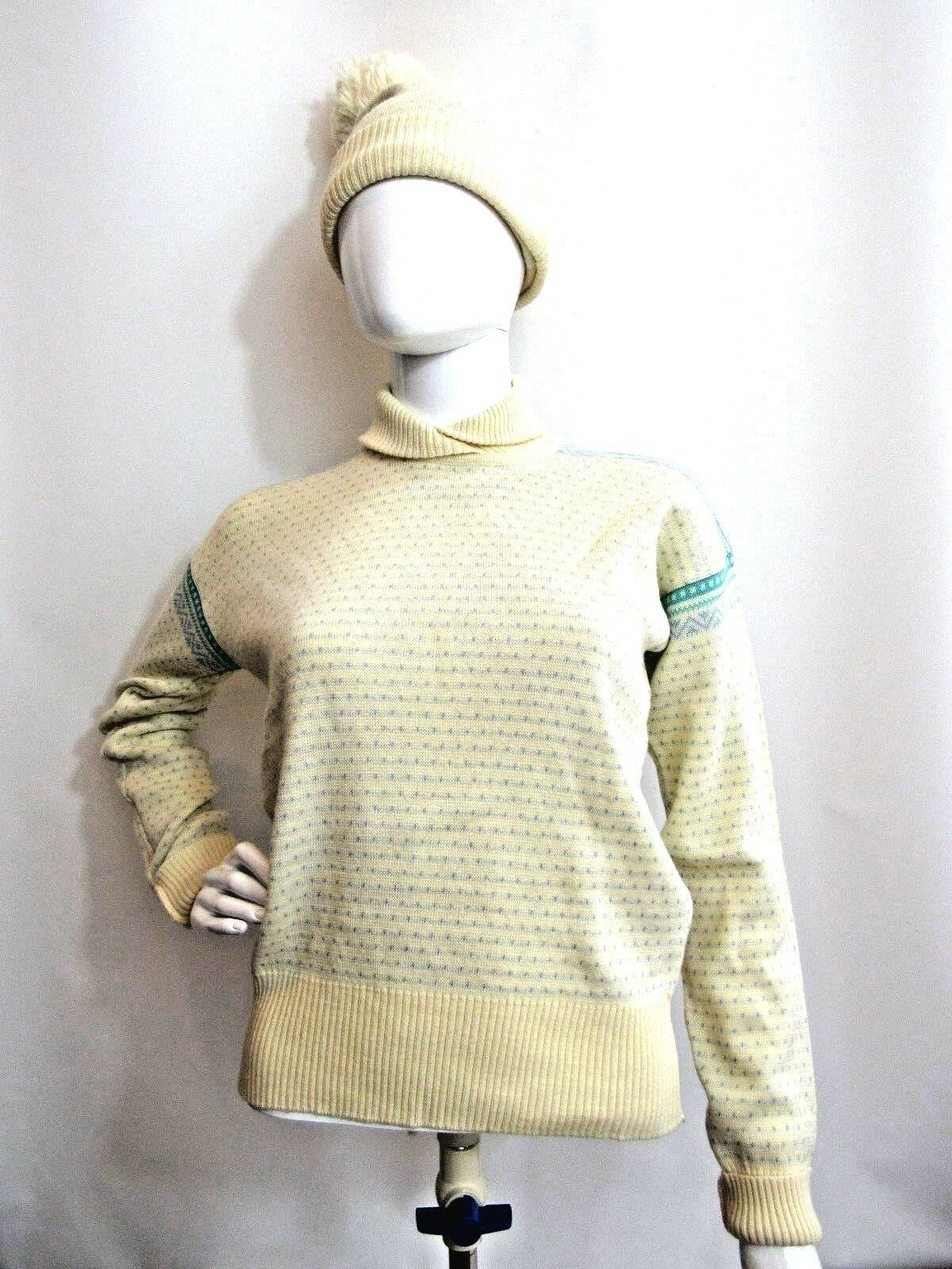OBERMEYER Beige and Blau Long Sleeve Sweater with Hat Größe S