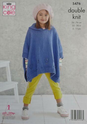 Knitting Pattern Enfants Filles Cœur Ponchos Drifter DK King Cole 5476