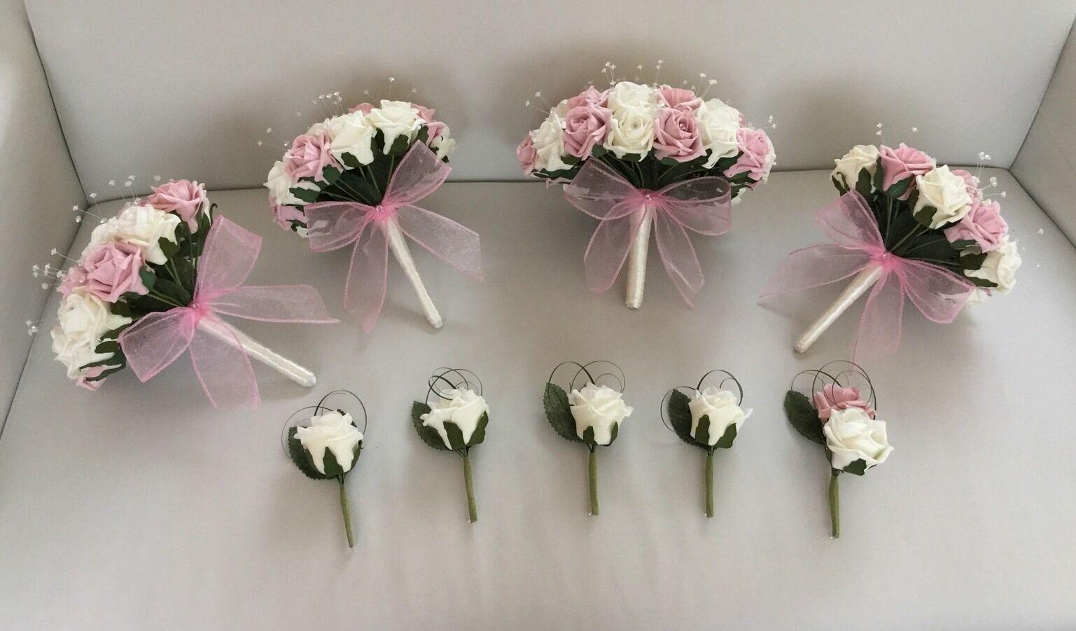 Paquet de Mariage Fleurs Artificielles Bouquet paillettes rose mariée vintage rose ivoire