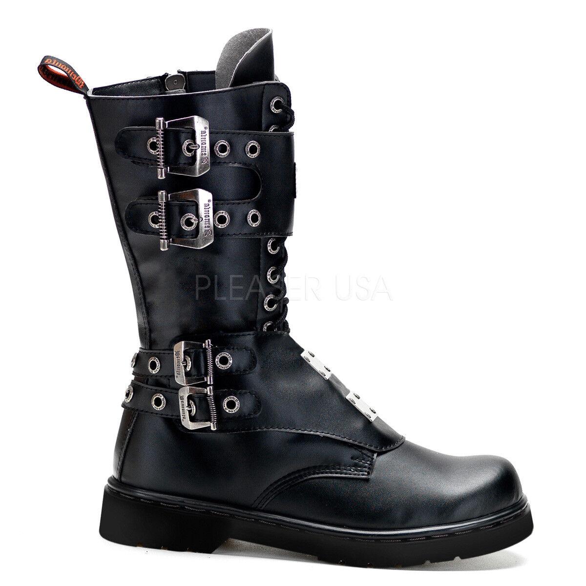 Demonia DEFIANT-302 Black 14 Eyelet Vegan Combat Boot Steel Plate Panels Zipper