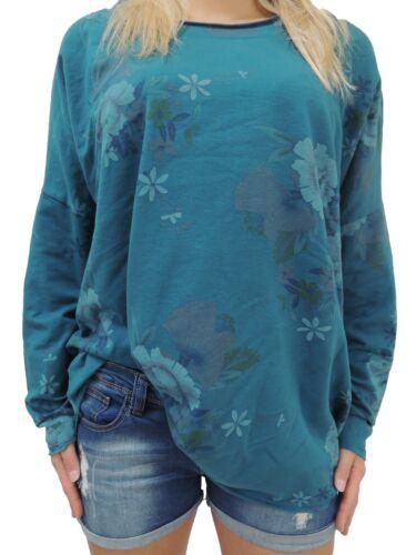 Da Donna Manica Lunga Pullover Misura 44 46 48 50 misure grandi Felpa Sweater Size