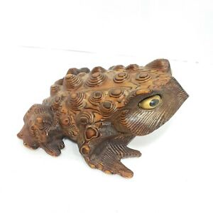Antique-SIGNED-Japanese-Traditional-Crafts-Cryptomeria-Wood-Carved-Frog-60s-MCM