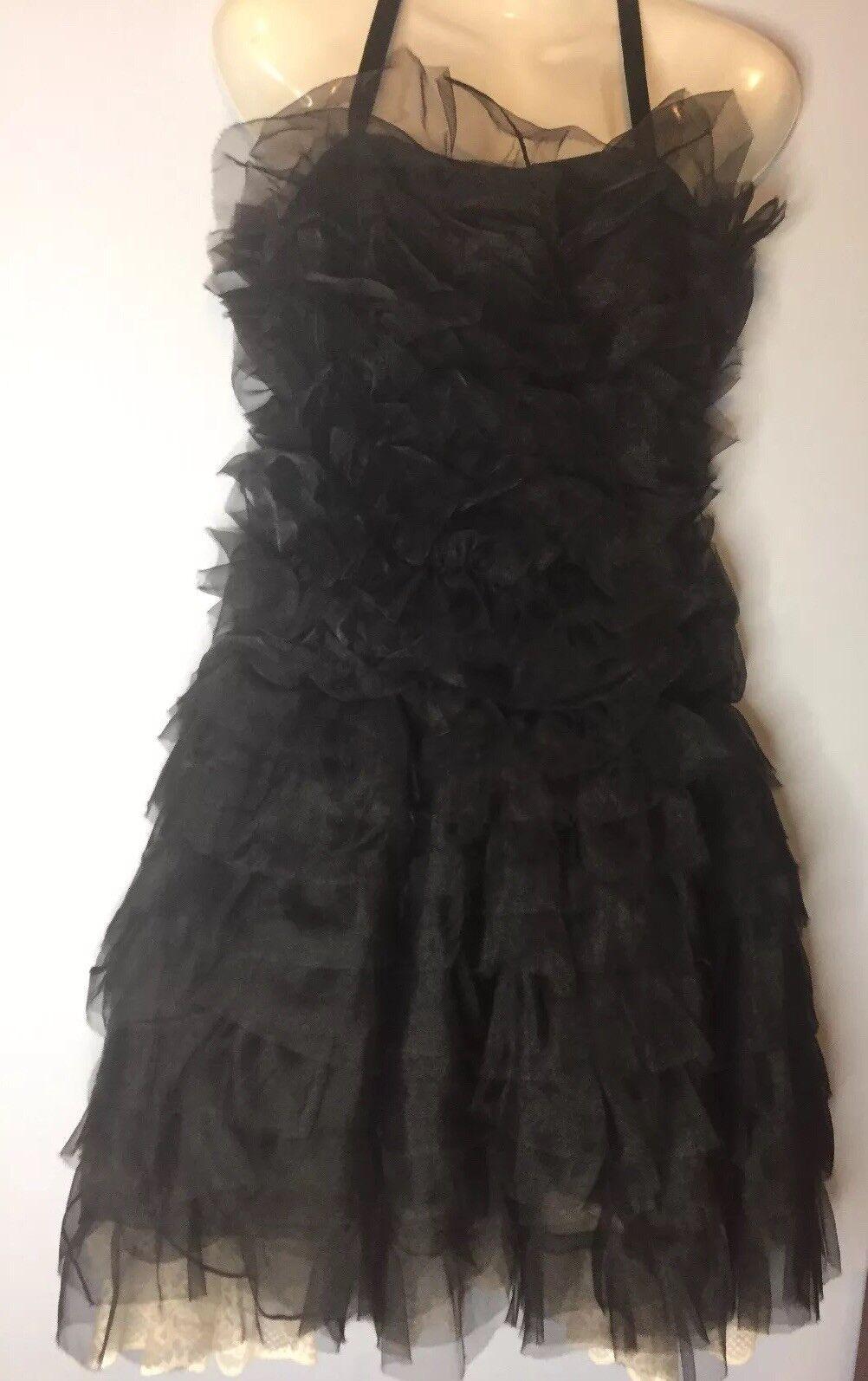 EMPORIO ARMANI Vintage schwarz Ruffle Cocktail Prom Dress Ivory Lace sz 42   4 - 6