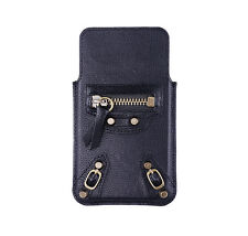 Genuine Real Leather Luxury Hand Made Vintage Black Pouch Case for iPhone 5 5S