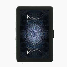 Aztec D2 Black Cigarette Case / Metal Wallet Empire Mexican Artwork