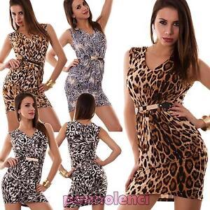 Miniabito donna abito vestito vestitino animalier tubino maculato ... 2741c0c618e