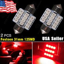 2 X Pure Red 31MM 12SMD Festoon Dome Map Interior LED Light Bulbs DE3175 DE3021