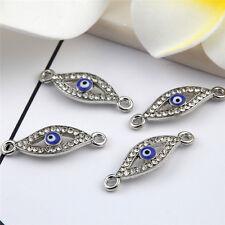 Silver Blue Eye Beads Connector Rhinestones DIY Bracelet Bangle Findings 10pcs