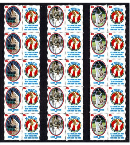RAHUL DRAVID 10,000 TEST RUNS SET OF 3 MINT CRICKET STAMP STRIPS OF 10