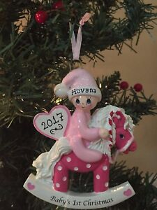 image is loading free personalized baby 039 s first christmas girl