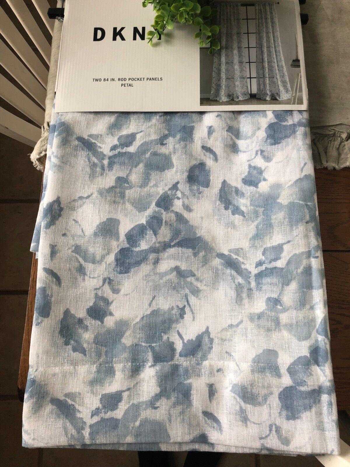 NEW DKNY  PETAL FLORAL   Window Curtains 2 50  x 84   PANELS BlauS