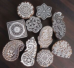 Lot of Ten Mix Hand Carved Wooden Textile/Fabric/Tattoo PrintingBlock Stamp #206