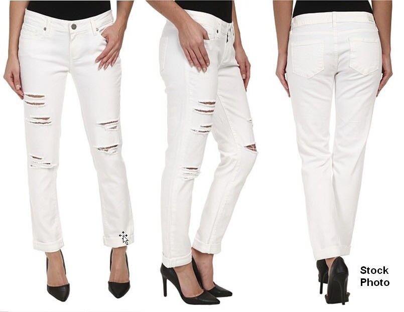 Paige Premium Jimmy Ragazzo Jeans Aderenti Taglie 30 Bianco whitea Distruzione