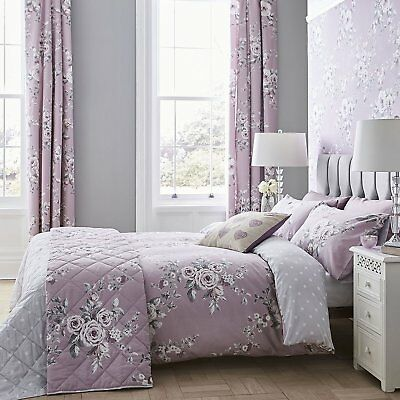 Catherine Lansfield Canterbury Heather Floral Easy Care Duvet Cover Bedding Set