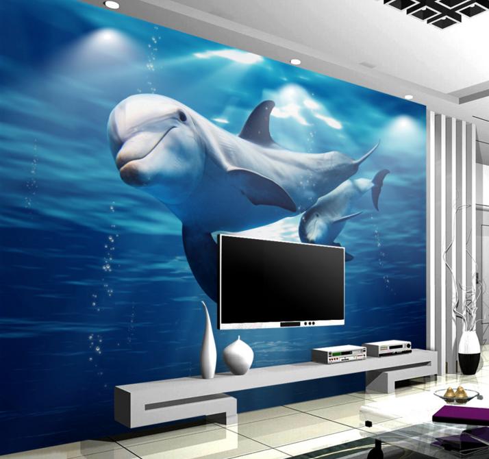 3D Dolphin Bule 657 Wallpaper Murals Wall Print Wallpaper Mural AJ WALL AU Lemon