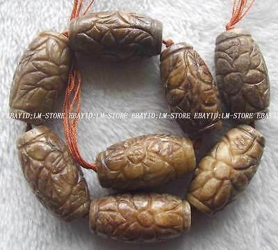 "25x45mm Natural Jade Carved Cylinder Beads 16"""