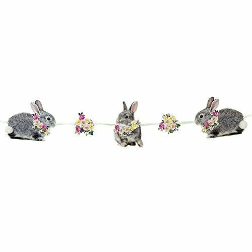 Talking Tables Truly Bunny Floral Rabbit Hanging Decoration with Pom Pom for Bir
