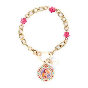 Disney Princess Frozen Anna Charm Bracelet Gold Pink Flowers Heart Closure NWT