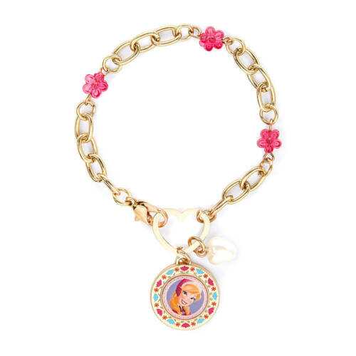 Disney Princess Frozen Anna Charm Bracelet Gold Pink Flowers Heart Closure NWT