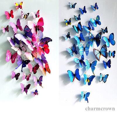 12pcs 3D Butterfly Sticker Art Design Decal Wall Stickers Home Decor Room Decor