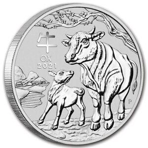 AUSTRALIE-1-Dollar-Argent-1-Once-Annee-du-Boeuf-2021