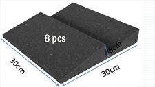 New Type Acoustic Insulation Panels Wedge Shape 8 PCS Black Soundproof Foam