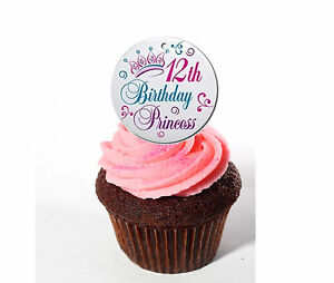 Superb 12Th Birthday Princess Edible Cup Cake Toppers 12 Fairy Bun Funny Birthday Cards Online Overcheapnameinfo