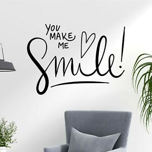 your make me smile love family fun happy quote decal wall art