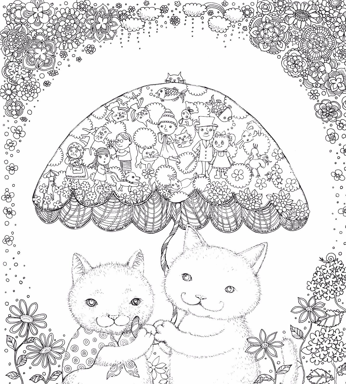 Coloring Book Mysterious World Of Cat Friends For Adult Paint Japan Japanese