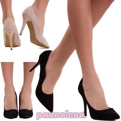Zapatos de mujer corte salón tacón alto punta ante sexy nuevos 8667