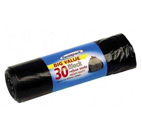 30 Large Heavy Duty Black Refuse Sacks Strong Rolls Rubbish Bags Bin Liners