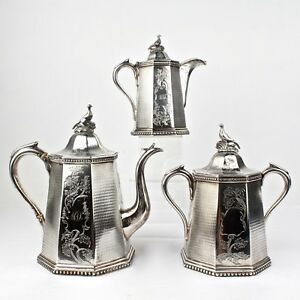 19th-Century-New-York-Wood-amp-Hughes-American-Coin-Silver-Tea-Set-SL